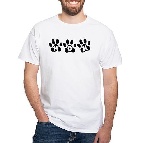 Pawprints Mom White T-Shirt