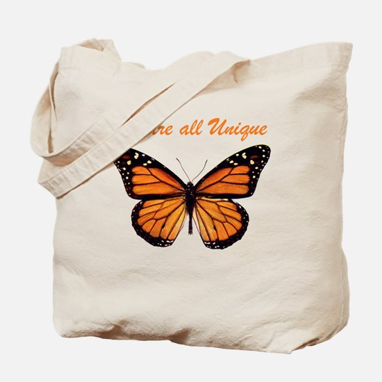 We Are All Unique: Butterfly Tote Bag