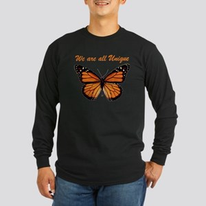 We Are All Unique: Butterfly Long Sleeve Dark T-Sh