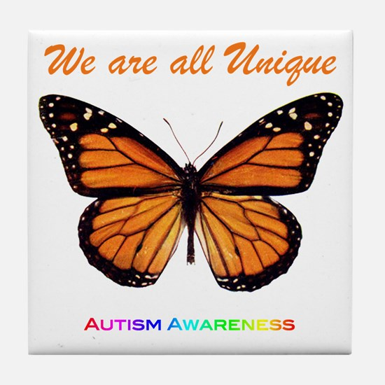 Butterfly: Autism Awareness Tile Coaster