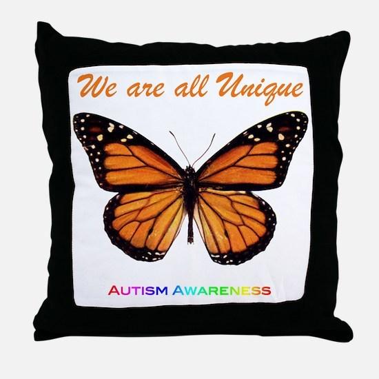 Butterfly: Autism Awareness Throw Pillow