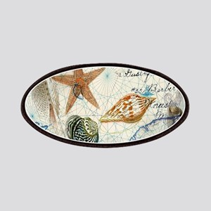 nautical seashells vintage map Patch