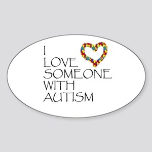 Autism Love Heart Oval Sticker