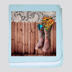 barnwood cowboy boots country baby blanket