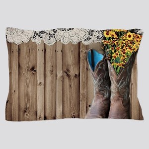 barnwood cowboy boots country Pillow Case