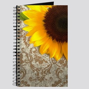 vintage damask Country sunflower Journal