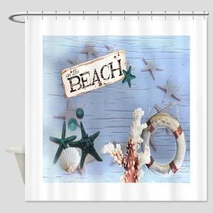 coastal nautical seashells beach Shower Curtain