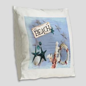 coastal nautical seashells bea Burlap Throw Pillow