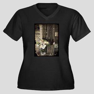 farm fence country flower Plus Size T-Shirt