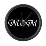 Mom with a red heart Large Wall Clock