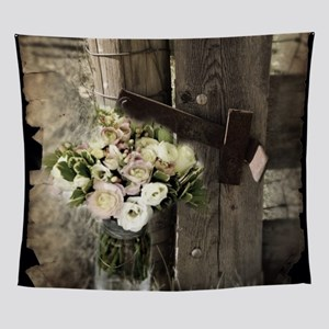 farm fence country flower Wall Tapestry