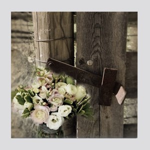 farm fence country flower Tile Coaster