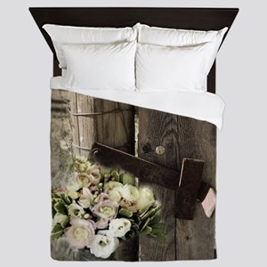 farm fence country flower Queen Duvet