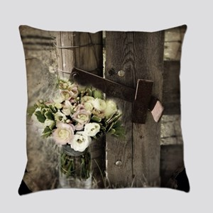 farm fence country flower Everyday Pillow