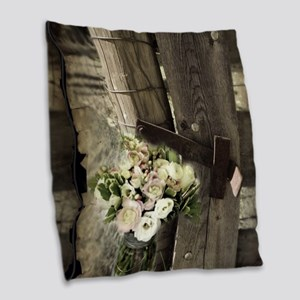 farm fence country flower Burlap Throw Pillow