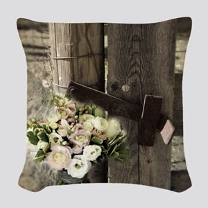 farm fence country flower Woven Throw Pillow