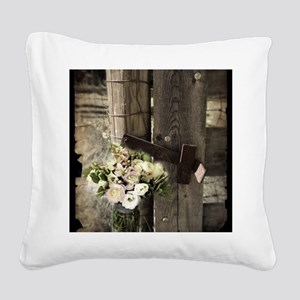 farm fence country flower Square Canvas Pillow