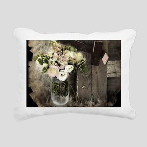 farm fence country flowe Rectangular Canvas Pillow