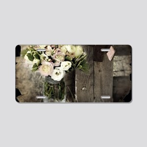 farm fence country flower Aluminum License Plate