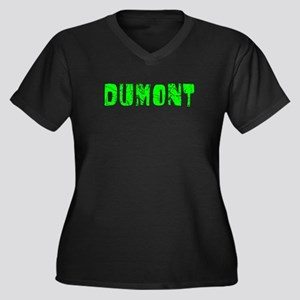 Dumont Faded (Green) Women's Plus Size V-Neck Dark
