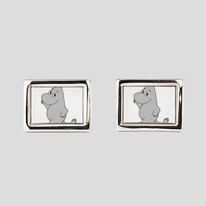 Animal Wear - Hippo 2 Rectangular Cufflinks