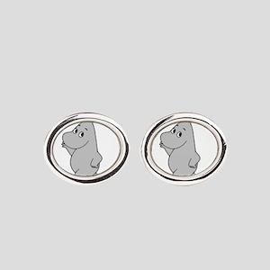 Animal Wear - Hippo 2 Oval Cufflinks