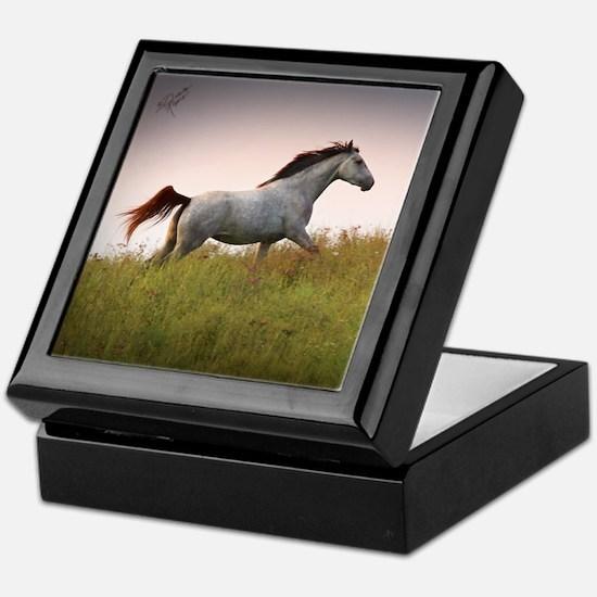 Keepsake Box with Saphire Running Horse