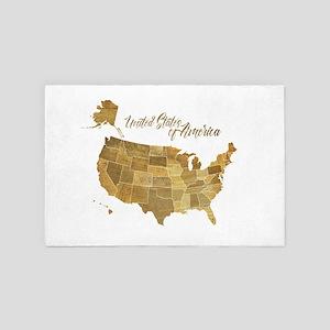 Vintage United States Map 4' x 6' Rug