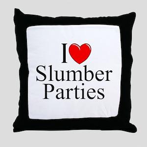 """I Love (Heart) Slumber Parties"" Throw Pillow"
