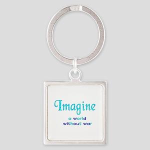Imagine Peace Square Keychain
