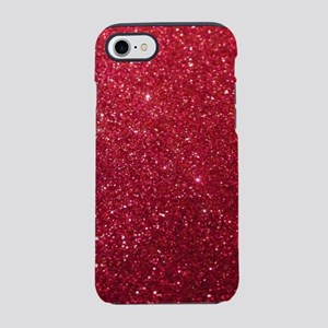 trendy burgundy Red Glitter iPhone 8/7 Tough Case