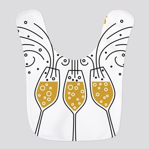 congrats grad champagne Polyester Baby Bib