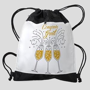 congrats grad champagne Drawstring Bag