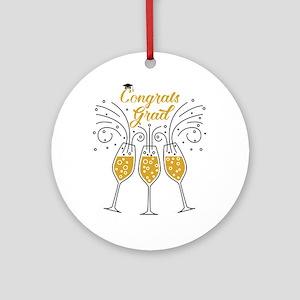 congrats grad champagne Round Ornament