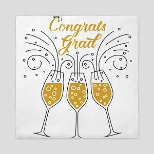 congrats grad champagne Queen Duvet