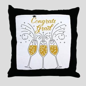 congrats grad champagne Throw Pillow