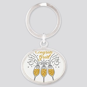congrats grad champagne Keychains