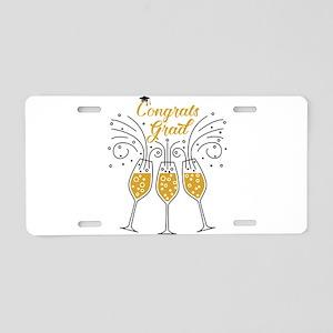 congrats grad champagne Aluminum License Plate