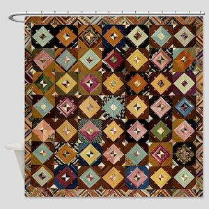 Vintage Antique Quilt Pattern Shower Curtain