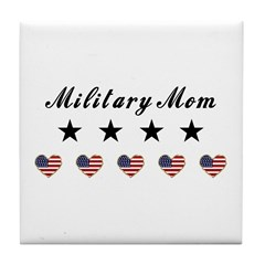 Proud Military Mom Tile Coaster