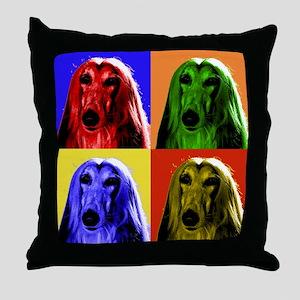 Afghan Hound Color Blocks Throw Pillow