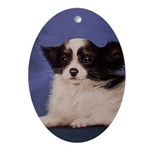 Papillon Christmas Oval Ornament
