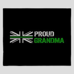 British Flag Green Line: Proud Grandma King Duvet