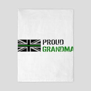British Flag Green Line: Proud Gr Twin Duvet Cover
