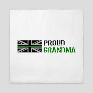British Flag Green Line: Proud Grandma Queen Duvet