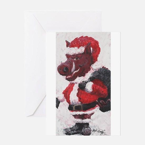 Razorback Santa Greeting Card