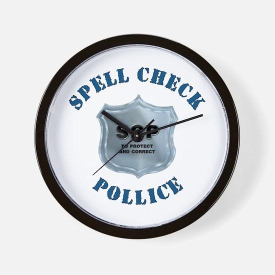 Spell Check Police Wall Clock