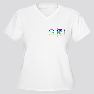 SKI RAINBOW Women's Plus Size V-Neck T-Shirt