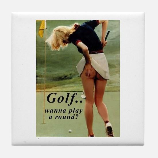 Cute Golfing Tile Coaster