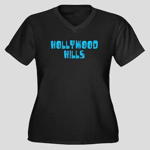 Hollywood Hi.. Faded (Blue) Women's Plus Size V-Ne